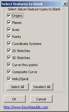 Screen shot of datum feature selection interface.